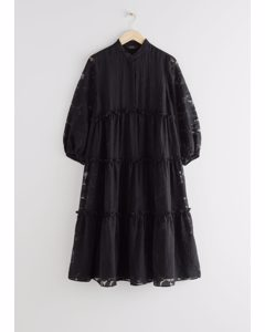 Voluminous Tiered Puff Sleeve Midi Dress Black