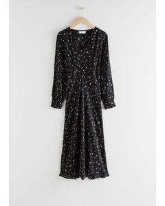 Floral V-cut Midi Dress Black Floral