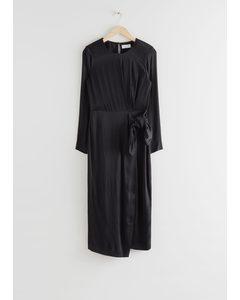 Satin Side Knot Midi Dress Black