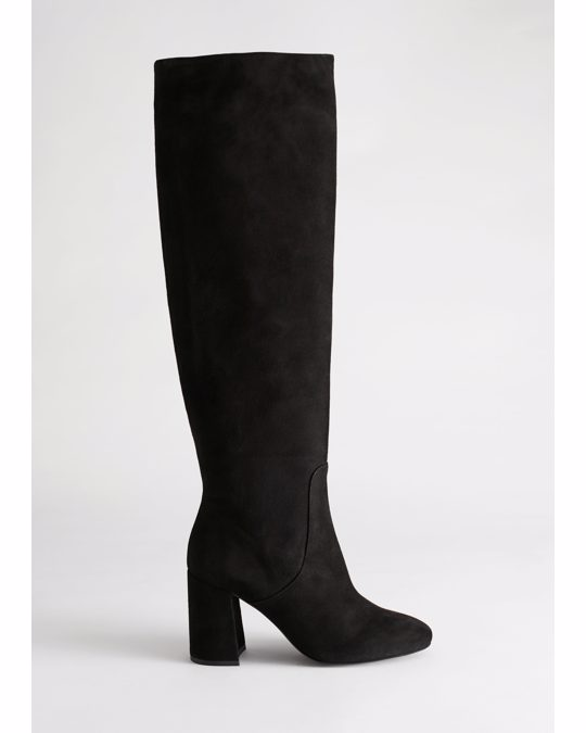 & Other Stories Knee High Suede Boots Black
