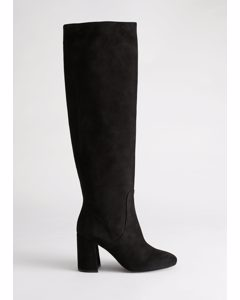 Knee High Suede Boots Black