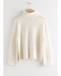 Alpaca Blend Turtleneck Sweater White