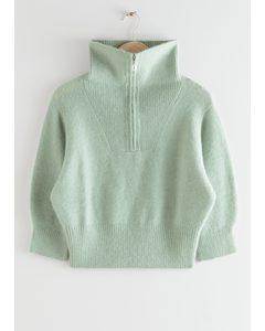 Fuzzy Zip Collar Knit Top Green