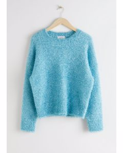 Oversized Glitter Lurex Sweater Light Blue