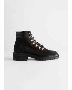Chunky Suede Hiking Boots Black