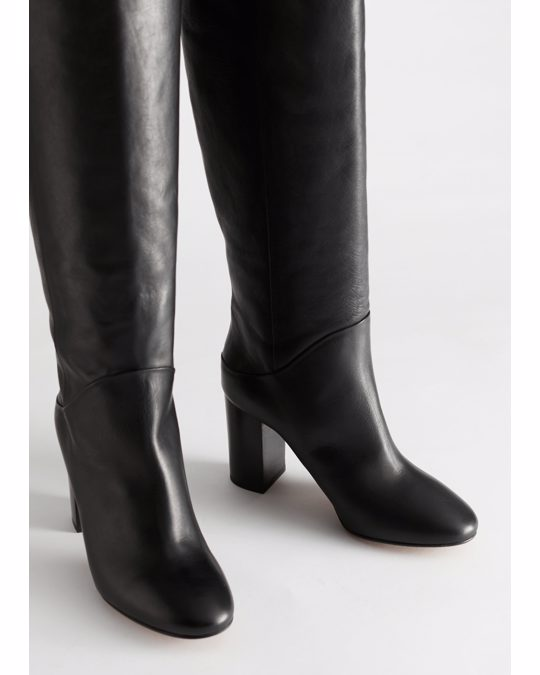 & Other Stories Chrome Free Tanned Leather Knee High Boots Black
