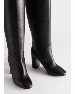 Chrome Free Tanned Leather Knee High Boots Black