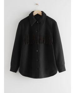 Relaxed Button Up Fringe Jacket Black