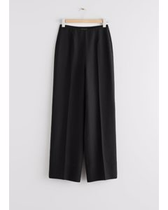 Wide Lyocell Blend Trousers Black