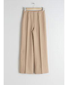 Wide Lyocell Blend Trousers Beige