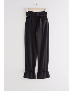Belted Paperbag Waist Trousers Black