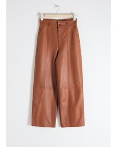 High Waisted Leather Trousers Camel