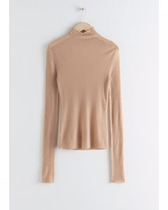 Fitted Cashmere Turtleneck Top Beige