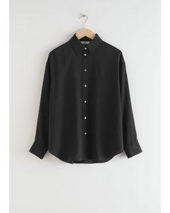 Oversized Button Up Silk Shirt Black