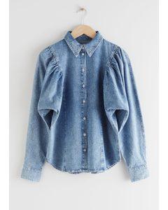 Puff Shoulder Denim Shirt Light Blue