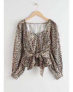 Leopard Knot Tie Blouse Leopard