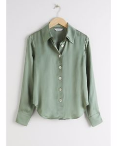 Iridescent Button Satin Blouse Green
