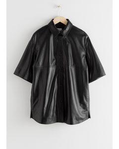 Oversized Leather Button Up Overshirt Black