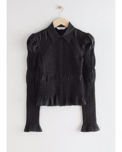 Fitted Smocked Shirt Black