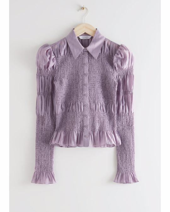 & Other Stories Fitted Smocked Shirt Purple
