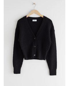 Cropped Textured Cotton Cardigan Black