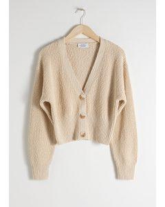 Cropped Textured Cotton Cardigan Beige