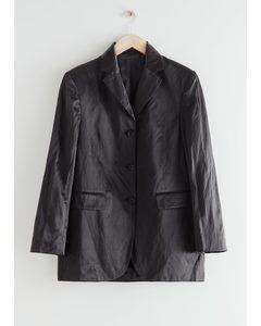 Long Satin Wide Shoulder Blazer Black