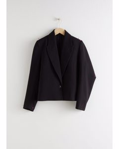 Pointed Lapel Single Button Blazer Black