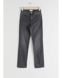 Gerade Stretch-Jeans Grau