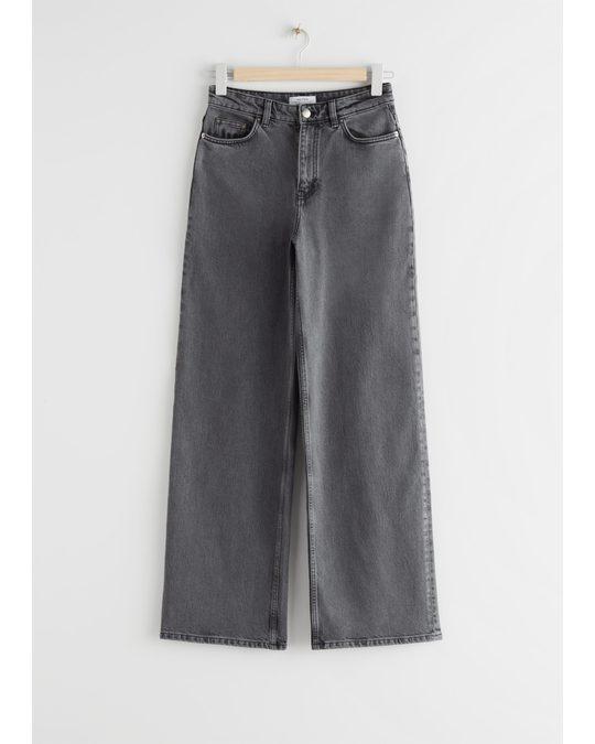 & Other Stories Straight High Waist Jeans Dark Grey