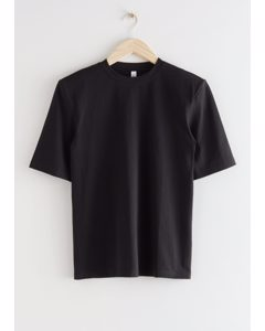 Relaxed Padded Shoulder T-shirt Black