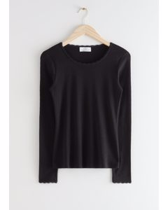 Long Sleeve Lace Top Black