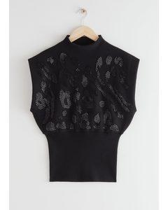 Sleeveless Sculptural Knit Top Black