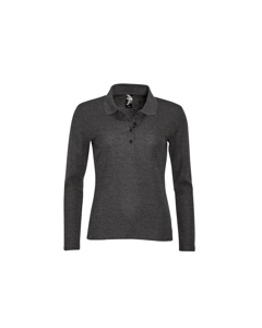 Sols Dames/dames Podium Lange Mouw Pique Katoenen Polo Shirt