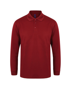 Henbury Mens Coolplus Moisture Wicking Long Sleeve Polo Shirt