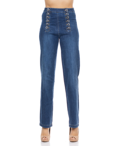 Denim Flared Pants With Buttons At Front