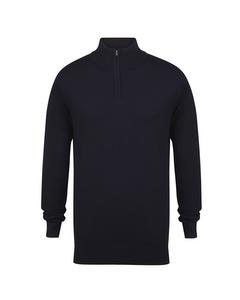 Henbury Mens 1/4 Zip Long Sleeve Jumper