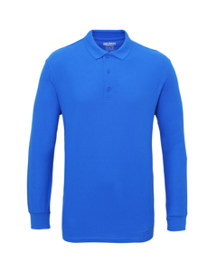 Gildan Mens Long Sleeve Double Pique Cotton Polo Shirt