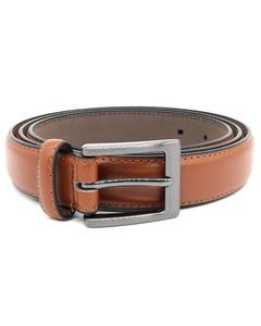 Duke Mens Anthony Square Buckle Edge Stitched Leather Belt