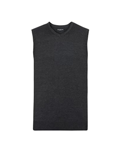 Russell Collection Mens V-neck Sleevless Knitted Pullover Top / Jumper