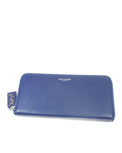 Ysl Leather Zip Around Long Wallet Blue
