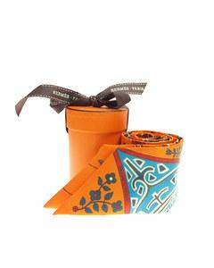 Hermes Labre De Vie Twilly Silk Scarf Orange