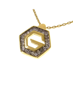 Givenchy Hexagon G Logo Rhinestone Pendant Necklace Gold
