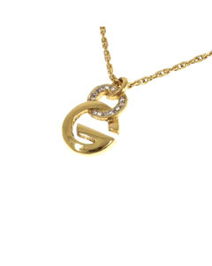 Givenchy G Logo Rhinestone Pendant Necklace Gold