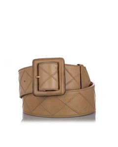 Chanel Quilted Lambskin Leather Belt Brown