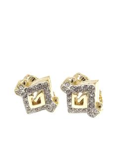 Givenchy G Logo Rhinestone Earrings Gold