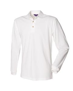Henbury Mens Classic Plain Long Sleeve Cotton Polo Shirt