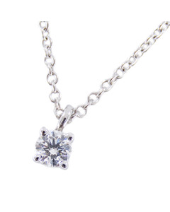 Tiffany Solitaire Diamond Pendant Necklace Silver