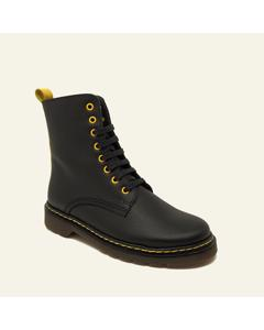 Military Arizona Ankle Boot In Multicoloured Leather In Black And Yellow Colours