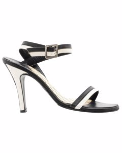 Monochrome Leather Ankle Strap Sandals